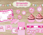 Kit Imprimible Baby Shower Nena