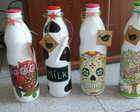 Botellas pintadas y decoupage