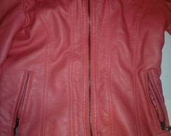 CAMPERA COLOR CORAL SIMIL CUERO
