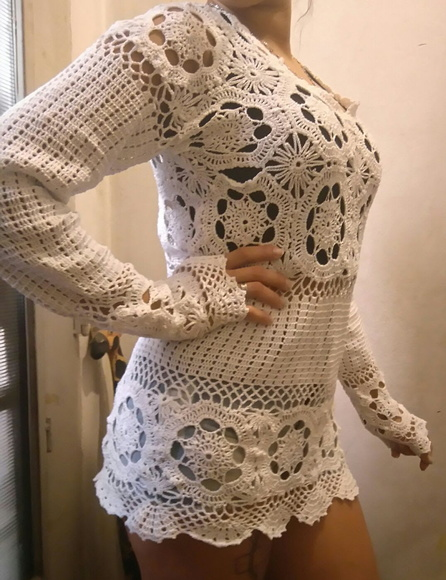 sweater crochet hilo macrame