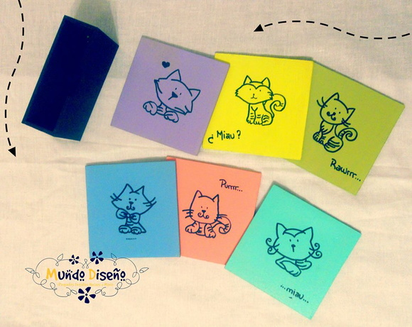 Posavasos Gatitos y colores con base