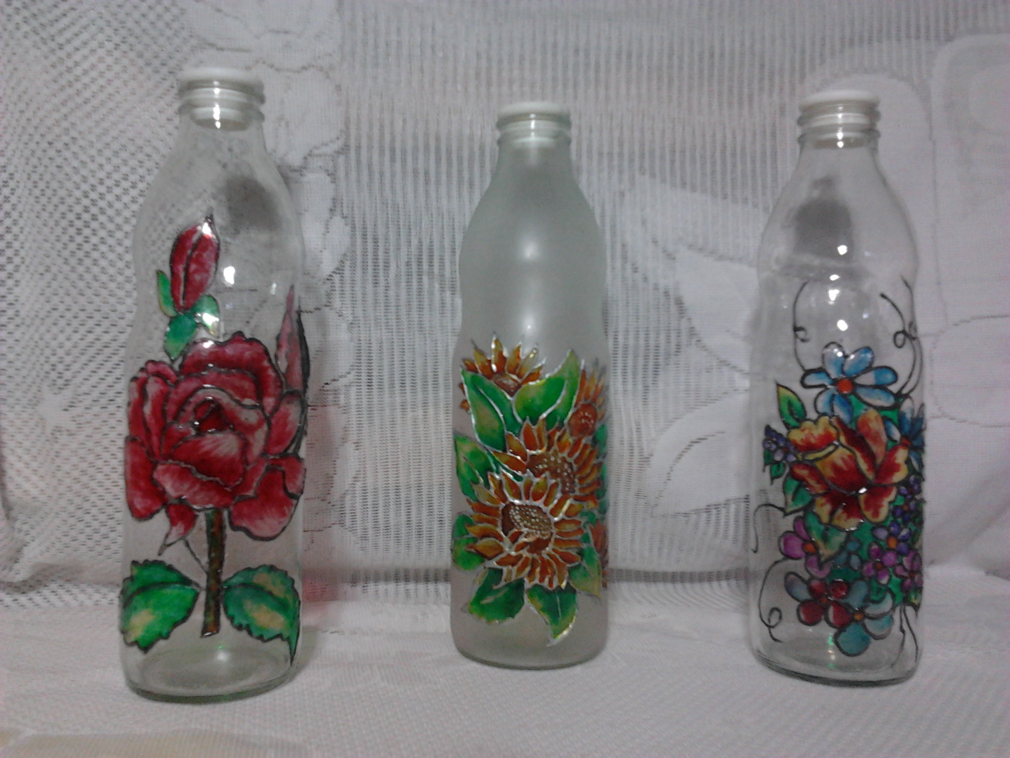Botellas De Vidrio Decoradas Con Hilo